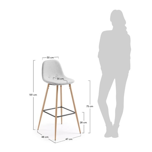 Set 2 scaune bar La Forma Nilson, gri deschis