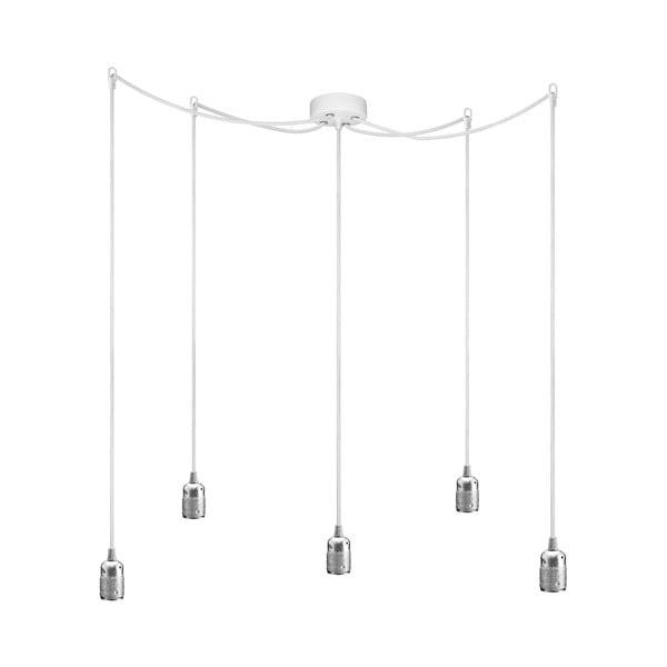 Závěsné svítidlo s 5 bílými kabely a stříbrnou objímkou Bulb Attack Uno