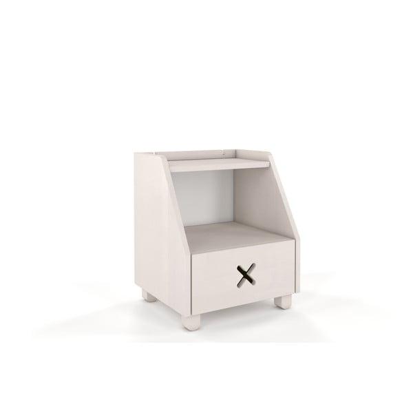 Biely nočný stolík z bukového dreva so zásuvkou a policou Skandica Visby Ustka