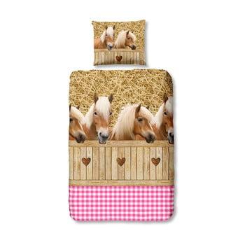 Lenjerie de pat din bumbac pentru copii Good Morning Horses 140 x 200 cm