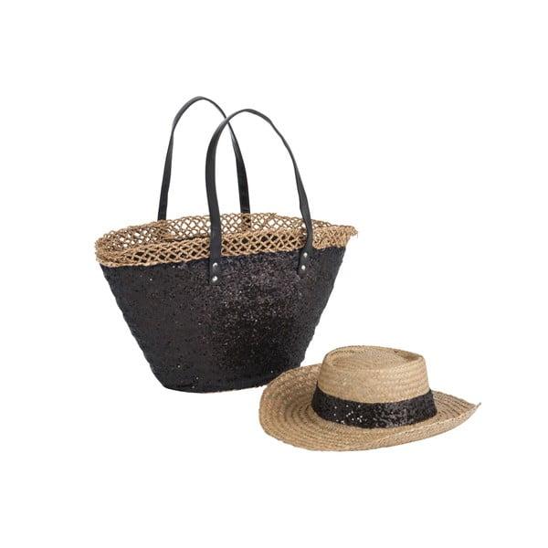 Plážová taška se slamákem Spangle Black