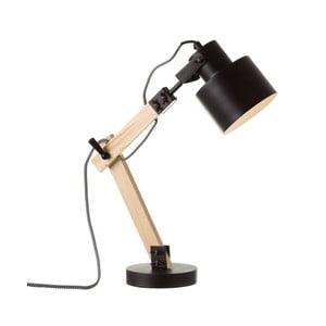 Černá stolní lampa ze dřeva a kovu Unimasa