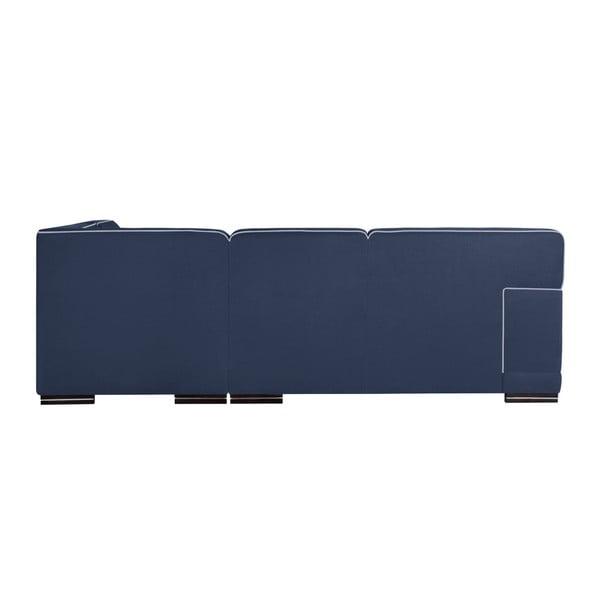 Tmavě modrá  rohová pohovka s lenoškou na pravé straně se světle modrými detaily L'Officiel Cara