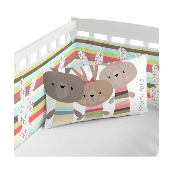 Textilní ohrádka na postýlku Little W Rabbit, 210 x 40 cm