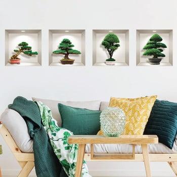 Set 4 autocolante 3D pentru perete Ambiance Bonsai Design