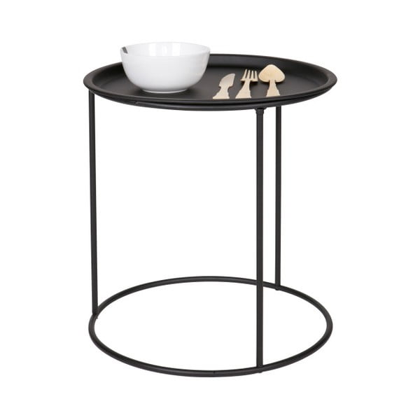Černý odkládací stolek De Eekhoorn Ivar, Ø40cm