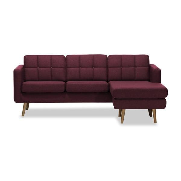 Burgundowa prawostronna 3-osobowa sofa narożna Vivonita Magnus