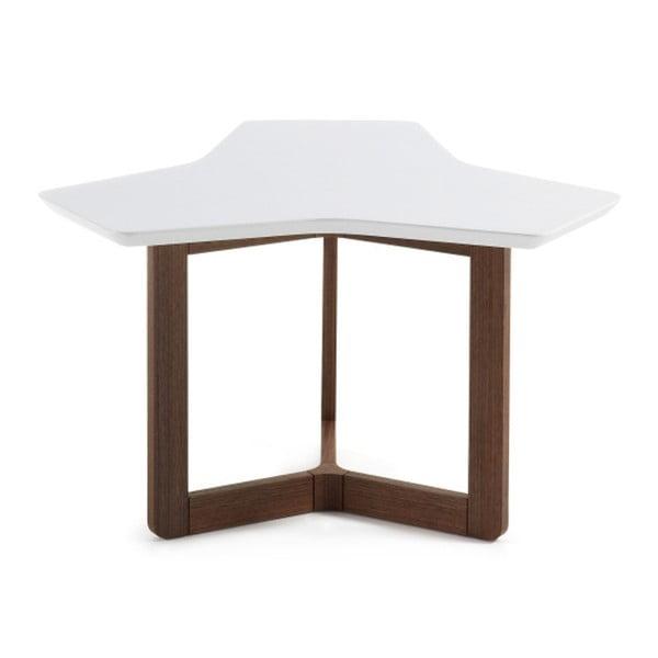 Bílý odkládací stolek s tmavými nohami La Forma Triangle