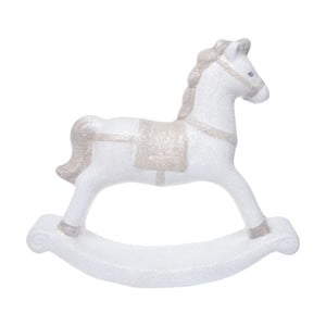 Bílý keramický dekorativní houpací koník Ewax, výška 18,7cm