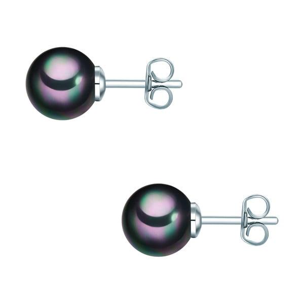 Náušnice s antracitově černou perlou Perldesse Muschel, ⌀8 mm