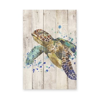 Pictură pe lemn Surdic Watercolor Turtle, 40 x 60 cm