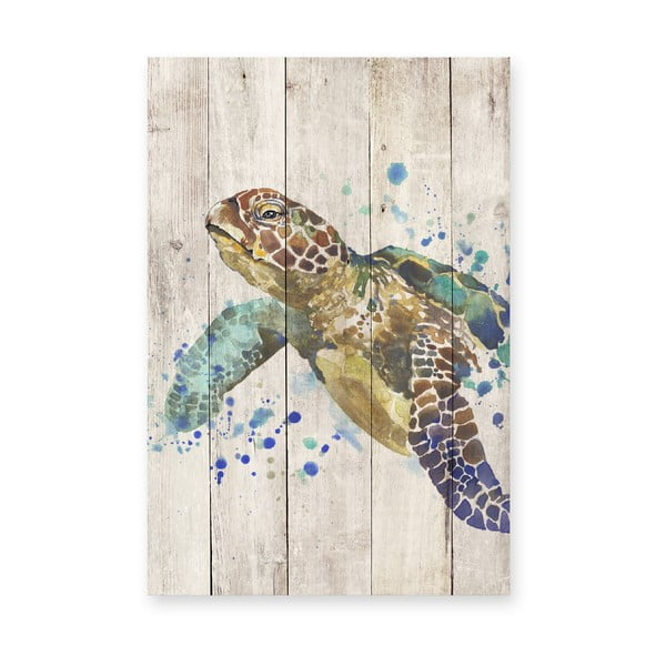 Dřevěná nástěnná dekorativní cedule Surdic Watercolor Turtle, 40 x 60 cm