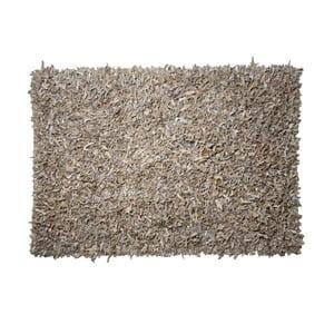 Kožený koberec Shaggy 120x180 cm, béžový
