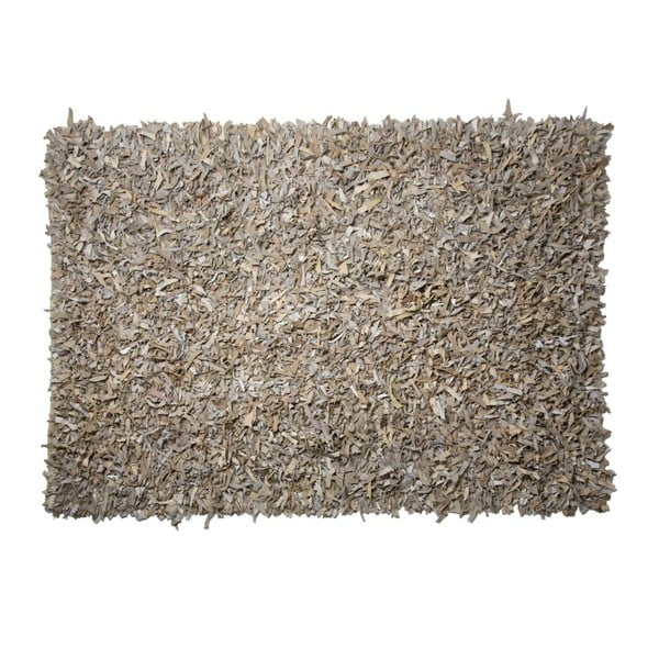 Béžový kožený koberec Cotex Shaggy, 120 x 180 cm