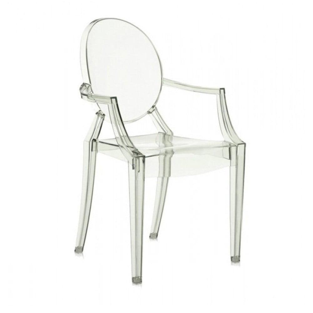 Světle zelená plastová židle Kartell Louis Ghost