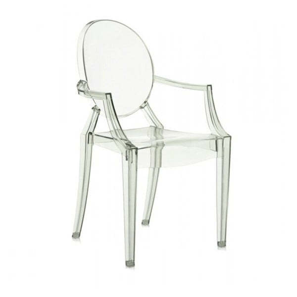 Světle zelená plastová židle Kartell Louis Ghost,