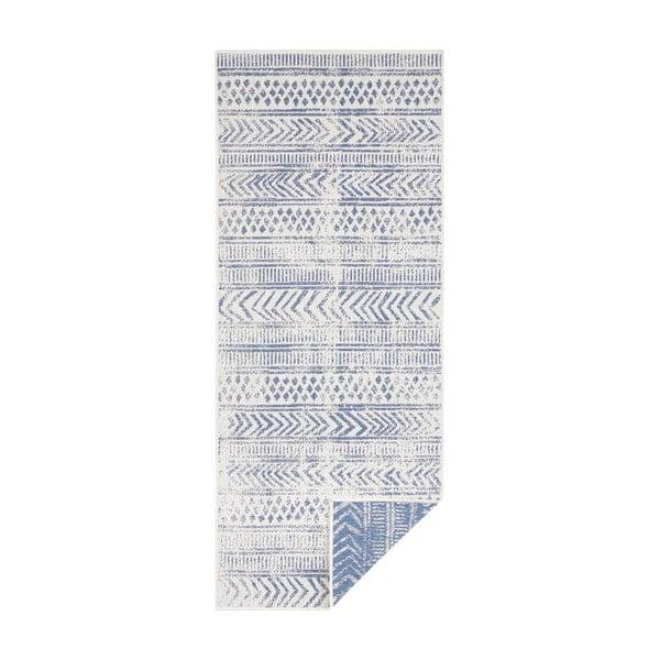 Covor pentru exterior Bougari Biri, 80 x 350 cm, albastru-crem