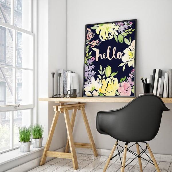 Plakát se žlutými květinami Hello, 30 x 40 cm