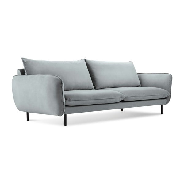 Jasnoszara aksamitna sofa Cosmopolitan Design Vienna, 230 cm