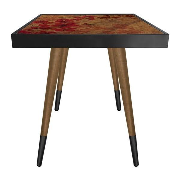 Príručný stolík Caresso Red Leafes Square, 45 × 45 cm