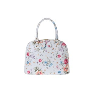 Bílá kožená kabelka s květinovým vzorem Pitti Bags Bonita