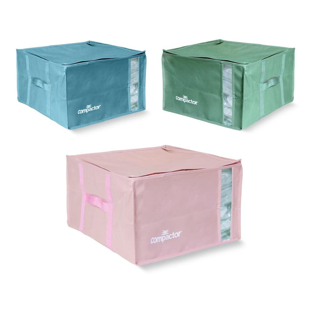 Sada 3 úložných boxů s vakuovým obalem Compactor Color Edition Medium, 40 x 25 cm