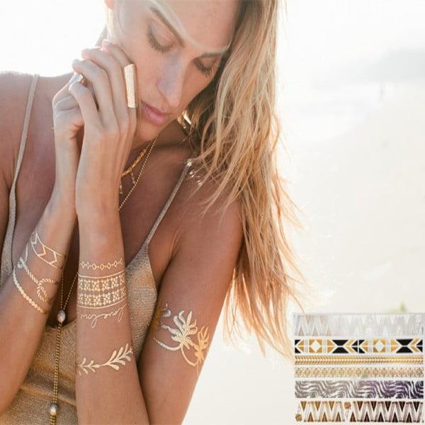 Metalické dočasné tetování Bracelets