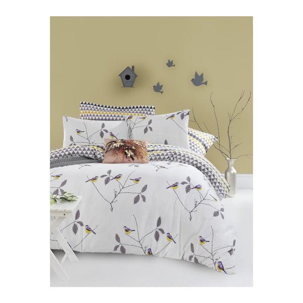 Lenjerie de pat cu cearșaf din bumbac ranforce, pentru pat dublu Mijolnir Pavlina White, 200 x 220 cm