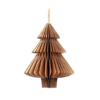 Decorațiune din hârtie pentru Crăciun, formă brad Only Natural, lungime 10 cm, maro auriu imagine