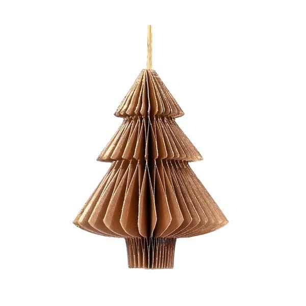 Złotobrązowa papierowa ozdoba świąteczna w kształcie choinki Only Natural, dł. 10 cm