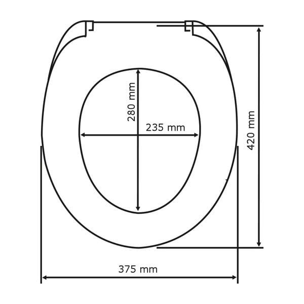Černé WC sedátko se snadným zavíráním Wenko Kos, 44 x 37 cm
