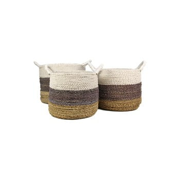 Set 3 coșuri depozitare HSM collection Raffia Natural White imagine