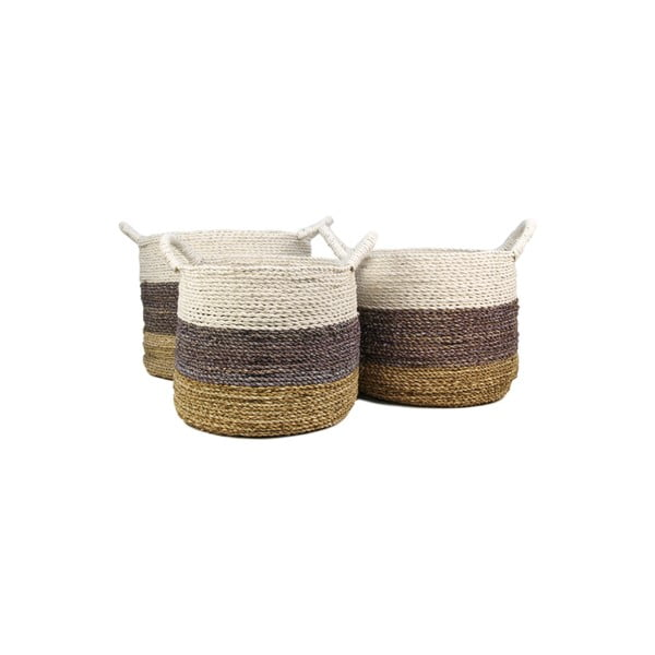 Set 3 coșuri depozitare HSM collection Raffia Natural White