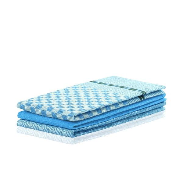 Sada 3 modrých bavlnených utierok DecoKing Louie, 50 x 70 cm