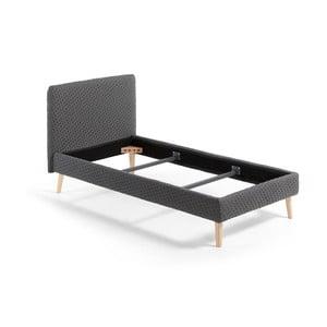 Tmavě šedá jednolůžková čalouněná postel La Forma Lydia Dotted, 190x90cm