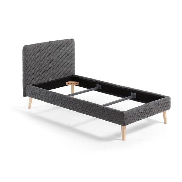 Tmavosivá jednolôžková čalúnená posteľ La Forma Lydia Dotted, 90×190cm