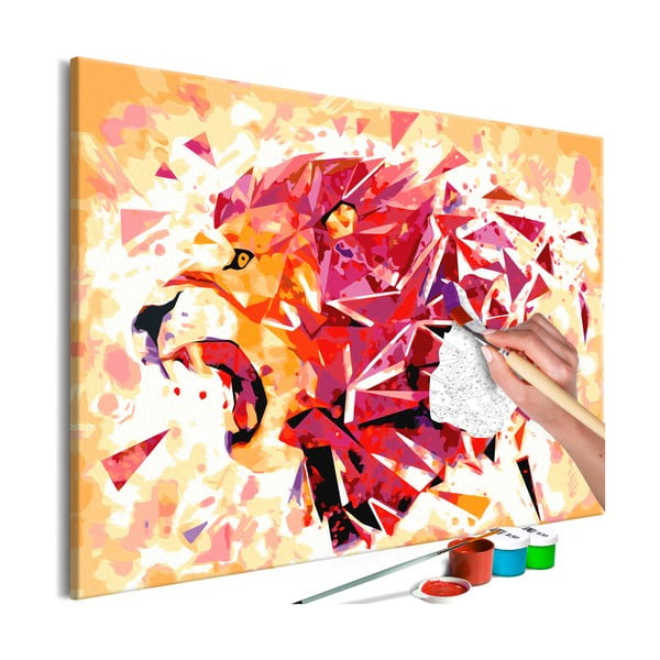 DIY set na tvorbu vlastného obrazu na plátne Artgeist Abstract Lion, 60×40 cm