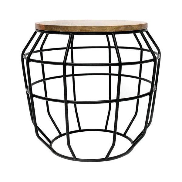 Černý příruční stolek s deskou z mangového dřeva LABEL51 Pixel, ⌀51 cm