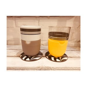 Sada 2 hrnků na latté s podtáckem a šedým silikonovým krytem Silly Design Take A Break