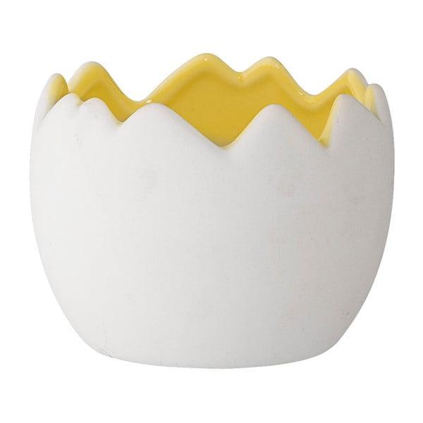 Keramický květináč ve tvaru vejce s žlutým detailem Bloomingville, , ⌀9cm