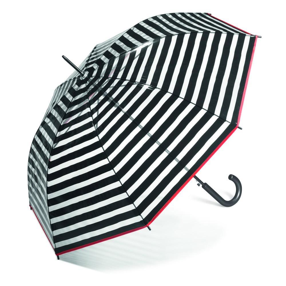 Dámský transparentní holový deštník Ambiance Black Stripes, ⌀95cm