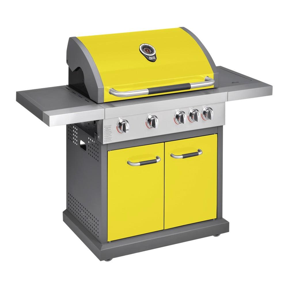 Žlutý plynový gril se 4 samostatně ovladatelnými hořáky, teploměrem a bočním ohřívačem Jamie Oliver Pro