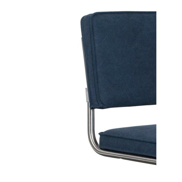Set 2 scaune Zuiver Ridge Rib Kink Vintage, albastru închis