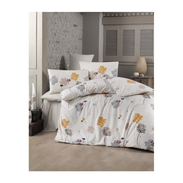 Lenjerie de pat cu cearșaf Flowery, 160 x 220 cm
