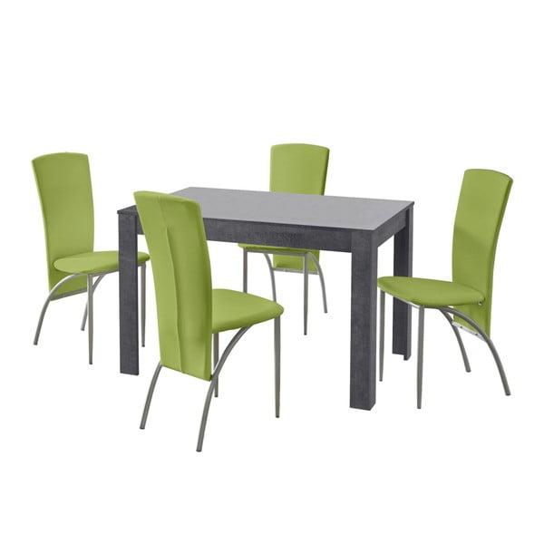 Set jídelního stolu a 4 zelených jídelních židlí Støraa Lori Nevada Slate Green