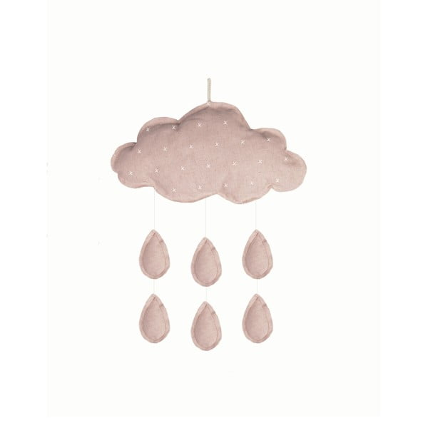 Světle růžová závěsná dekorace Little Nice Things Mobile Clouds