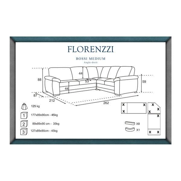 Canapea cu șezlong pe partea dreaptă Florenzzi Bossi Medium, maro