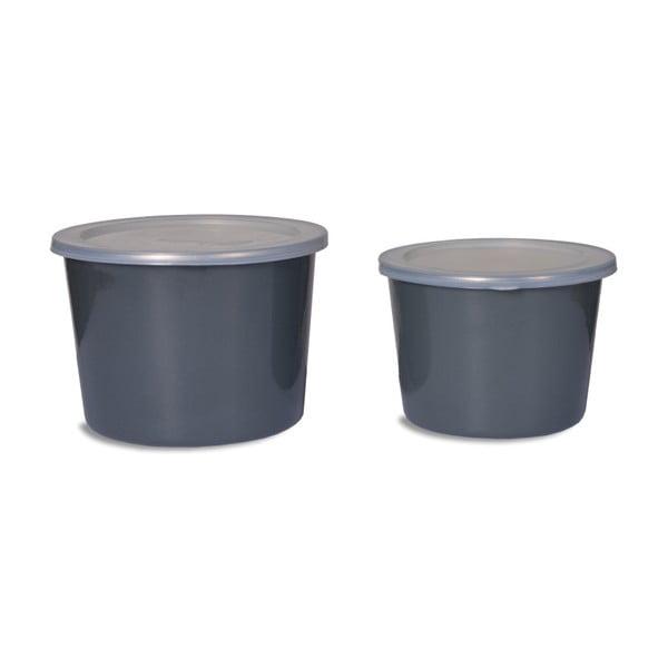Zestaw 2 pojemników z wieczkiem Garden Trading Food Pots In charcoal