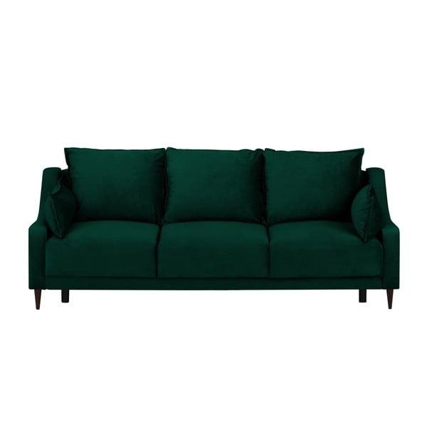 Zielona rozkładana sofa 3-osobowa ze schowkiem Mazzini Sofas Freesia