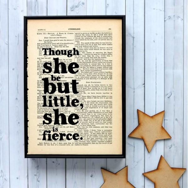 Plakát v dřevěném rámu Shakespeare Little and Fierce